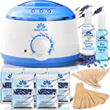 New Waxing Kit - Home Wax Warmer - Post and Pre Wax Treatment Spray - 5 Packs of Depilatory Wax - Hot Hard Scented Wax Warmers Electric Kit for Men - Women - Brazilian Eyebrow Body Waxing Kits - Prime