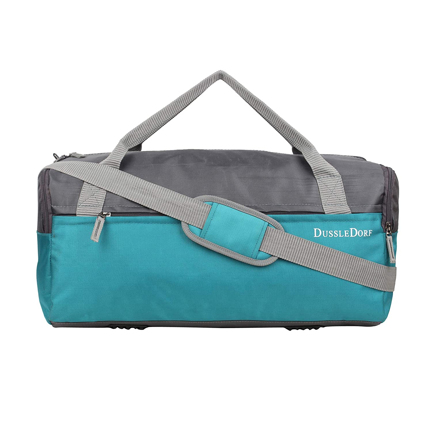 Dussle Dorf Polyester 35 Liters Grey and Turquoise Travel Duffle Bag
