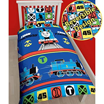 Thomas the Tank Engine Team Single US Twin Duvet Cover Set   Rotary Design. Amazon com  Thomas the Tank Engine Team Single US Twin Duvet Cover