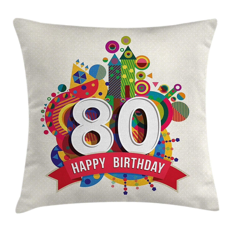 Wfispiy Funda de cojín de decoración de cumpleaños número 80 ...