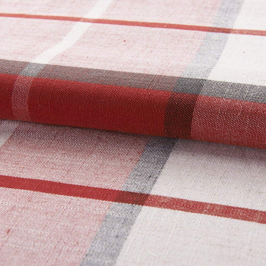 IYUEGO Country Retro Red Plaid Eco-Friendly Jacquard Grommet Top Curtains Draperies with Multi Size Custom 50 W x 84 L One Panel