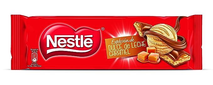 Nestlé Chocolate con leche extrafino relleno de dulce de leche y trozos de cereal tostado -