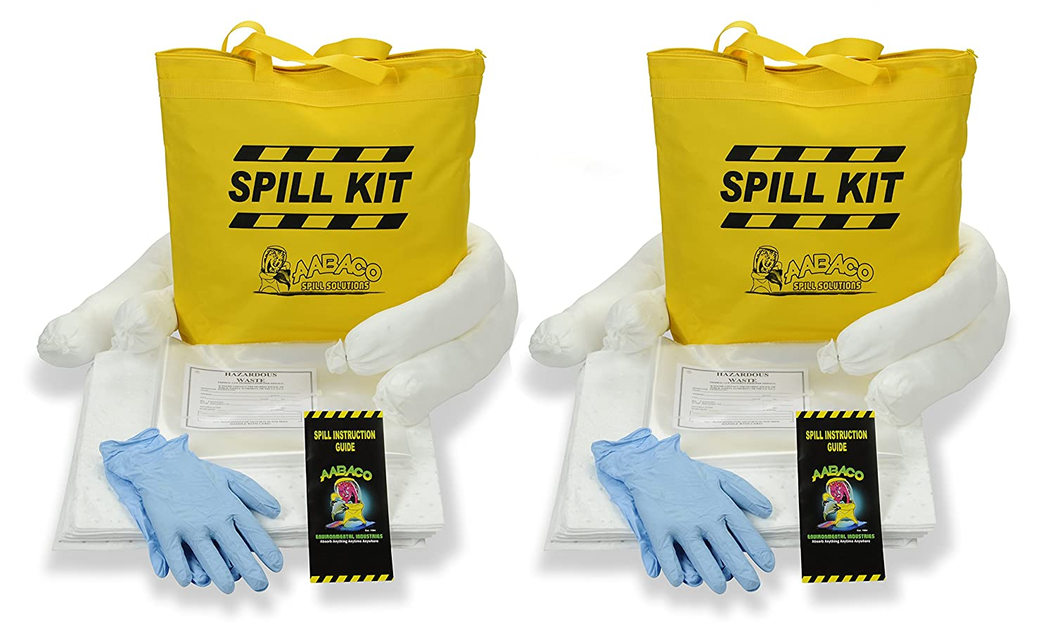 Aabaco Environmental Industries AABACO Oil Only SPILL KIT – Absorbs OIL and FUEL SPILLS – Repels Water – Kits In Portable Yellow Tote Bag For Trucks – Economical Absorbent (1 Kit)