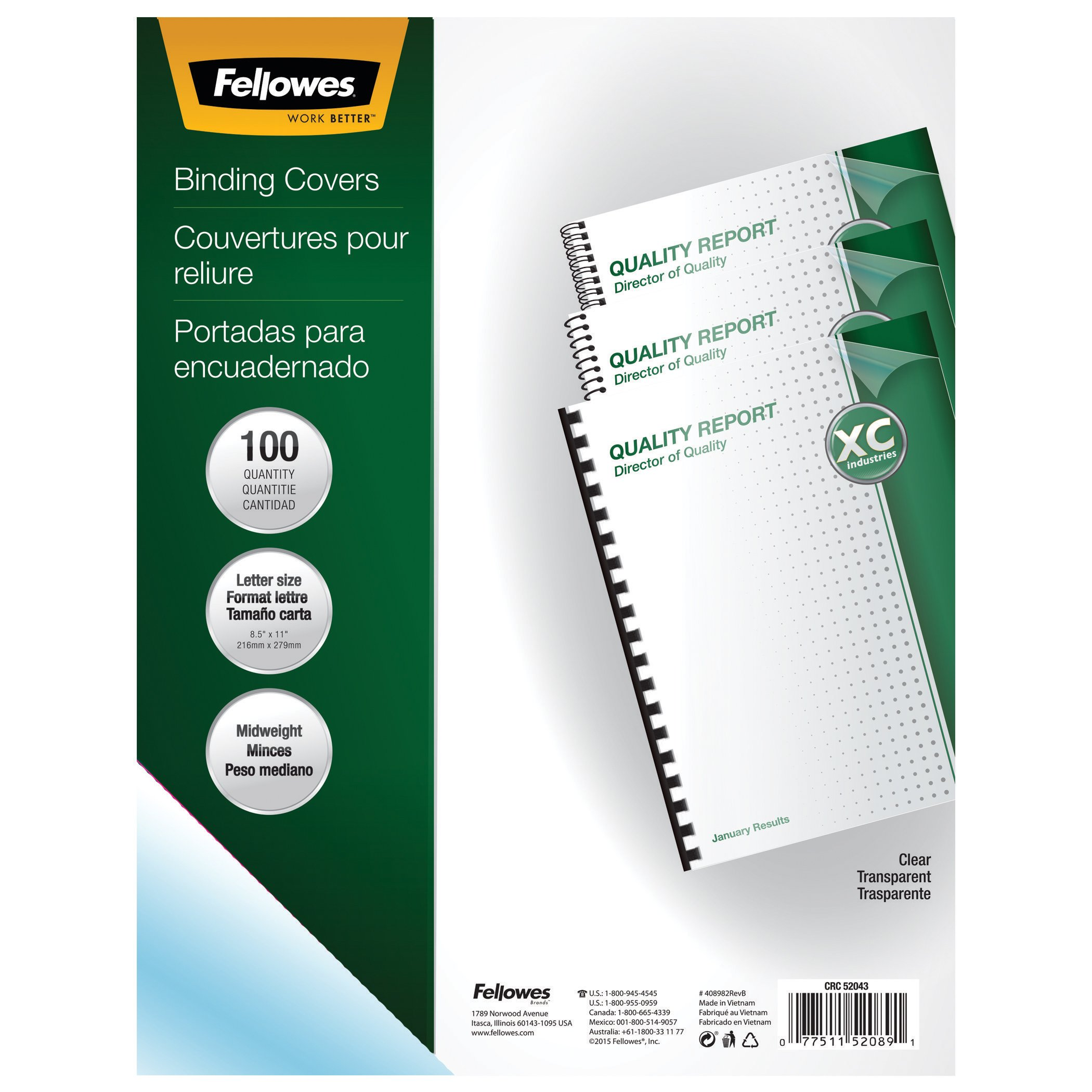 Fellowes Binding Presentation Covers, Letter, 100 Pack, Clear (52089)