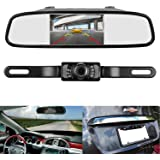 LeeKooLuu Backup Camera and 4.3'' Mirror Monitor Kit for Car Vehicle Rear view Camera on License Plate Single Power Source Rear view or Fulltime view Optional waterproof Night Vision Guide lines