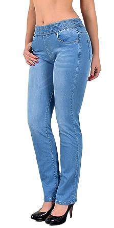 ESRA Damen Jeans Hose Straight Fit Jeanshose mit Gummibund bis große Größen Übergrösse J500