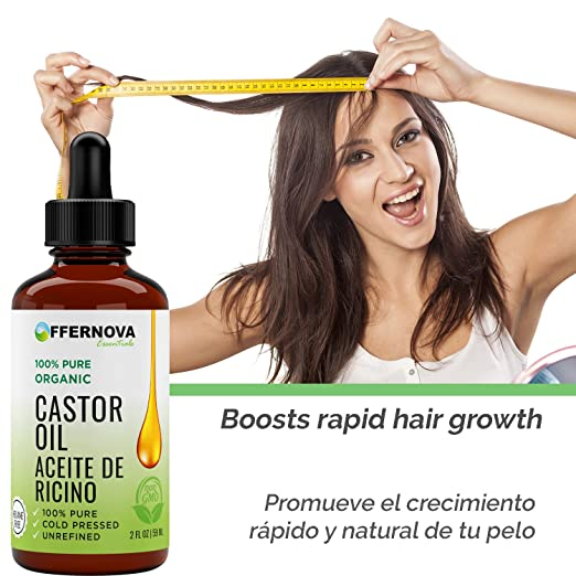 Amazon.com: Aceite de Ricino Organico- Castor Oil 2 Oz - for Hair Growth Eyelashes and Skin - Para el crecimiento de pelo pestanas y cejas: Beauty