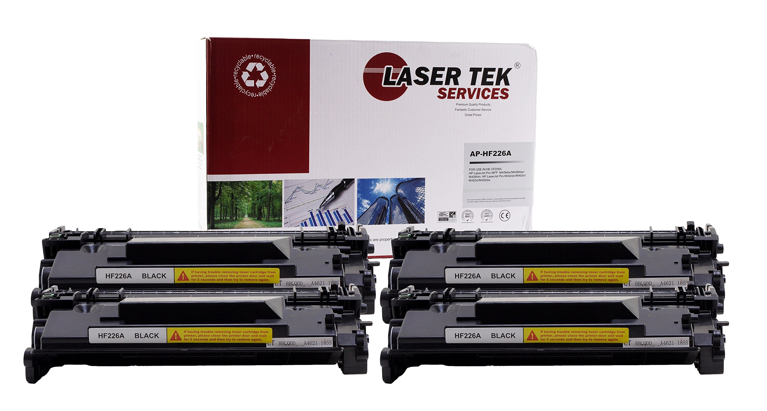 Laser Tek Services Compatible Toner Cartridge Replacement for the HP CF226A. (Black, 4-Pack)