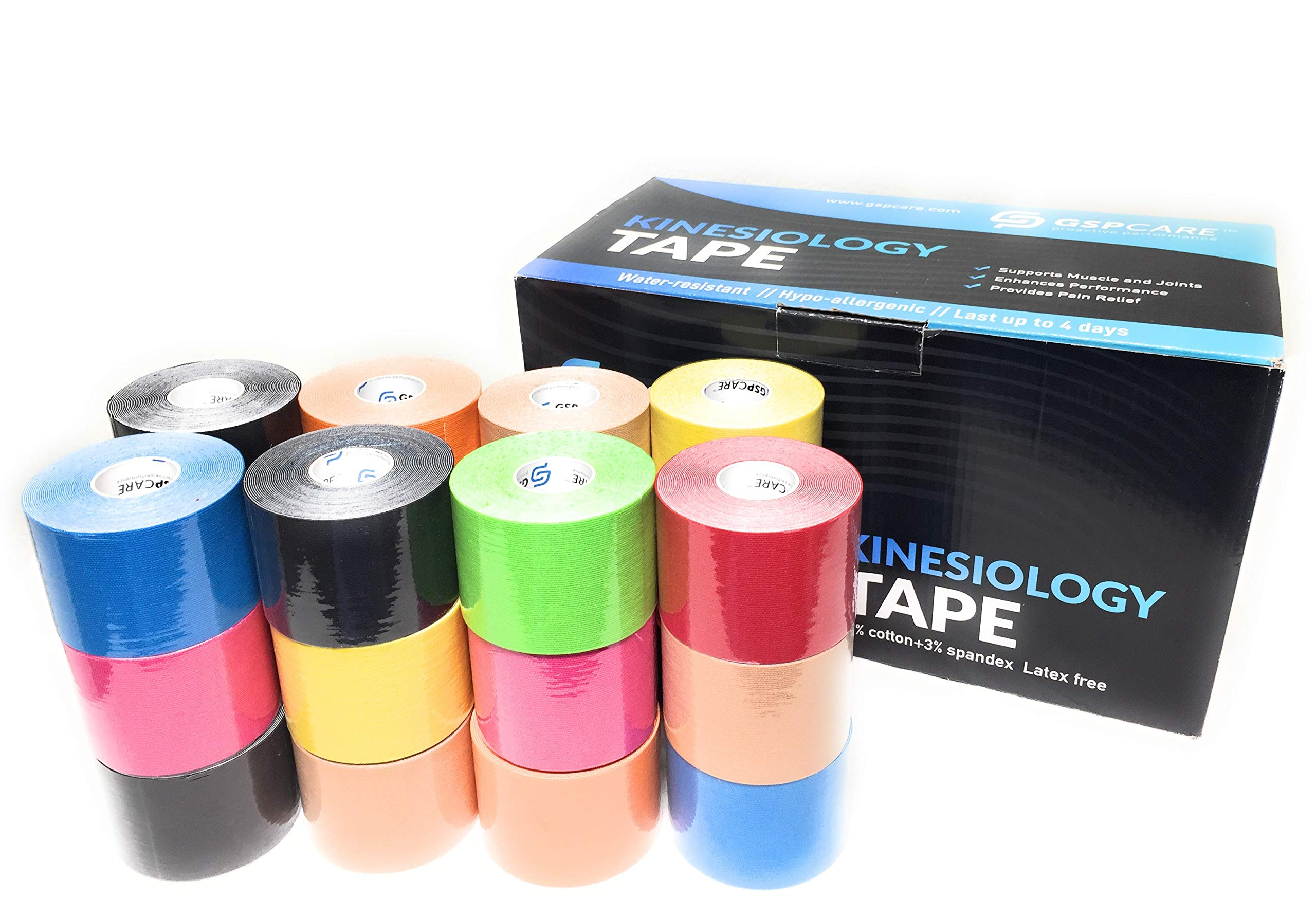 "GSPCARE Kinesiology Therapeutic Sports Tape for Pain Relief, Muscle & Joint Support, Latex Free, Water Resistance, Standard 2""x16.4' Uncut 24 Rolls, Colors Vary (24)"