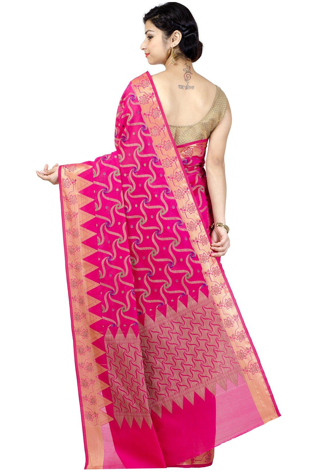Chandrakala Women's Rani Banarasi Cotton Silk Saree by Chandrakala (Image #2)