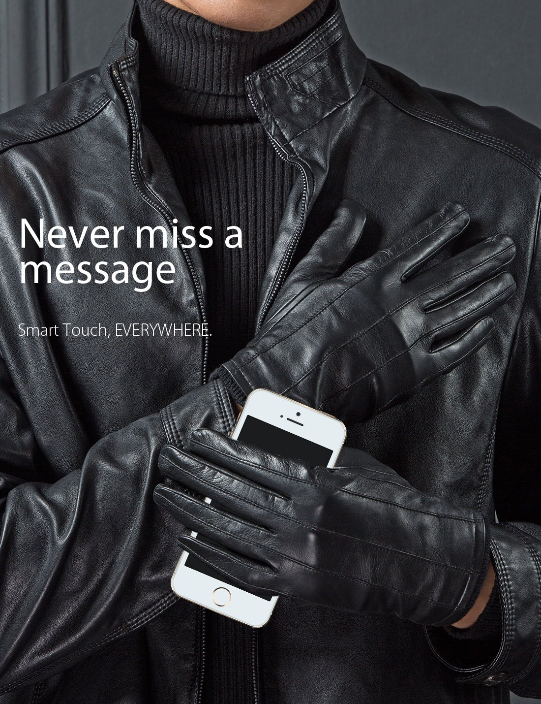 YISEVEN Men's Genuine Nappa Leather Lined Winter Gloves -Black/Touchscreen,Black,11'' by YISEVEN (Image #3)