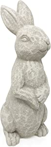 Elly Décor 14 Inch Tall Standing Sculpture for Your Patio & Yard, Outdoor Lawn décor, Cute Ceramic Figurine Garden Rabbit Bunny Statue, White Cantera