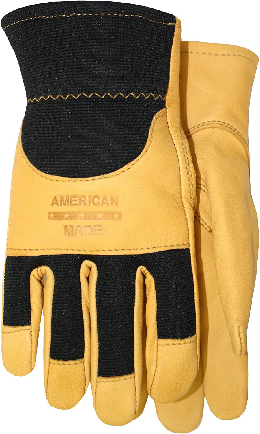 175 Extra Large American Made Goatskin Leather Spandex Work Gloves with Knuckle Strap and Leather Palm Size