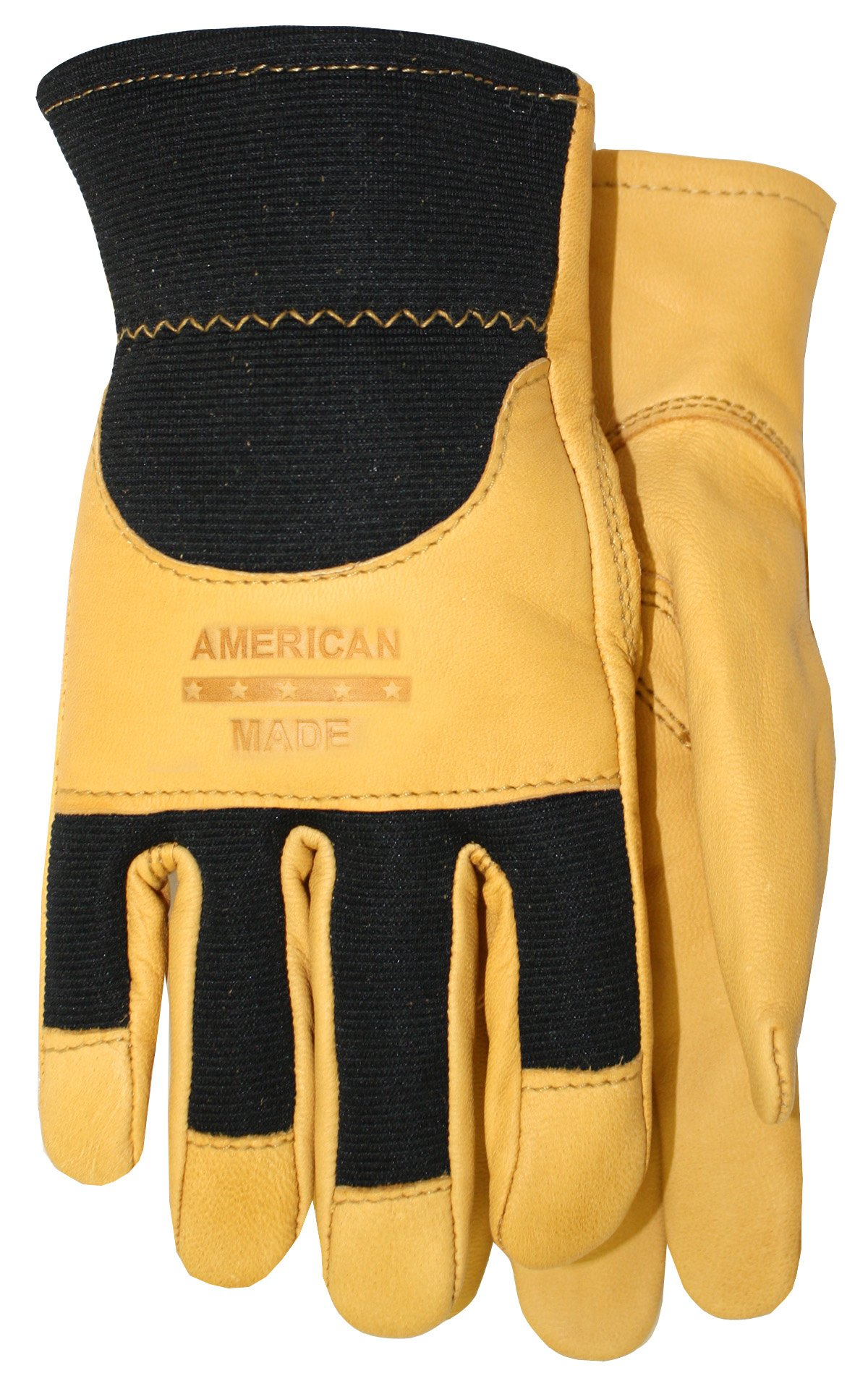 American Made Goatskin Leather Spandex Work Gloves with Knuckle Strap and Leather Palm, 175, Size: Large