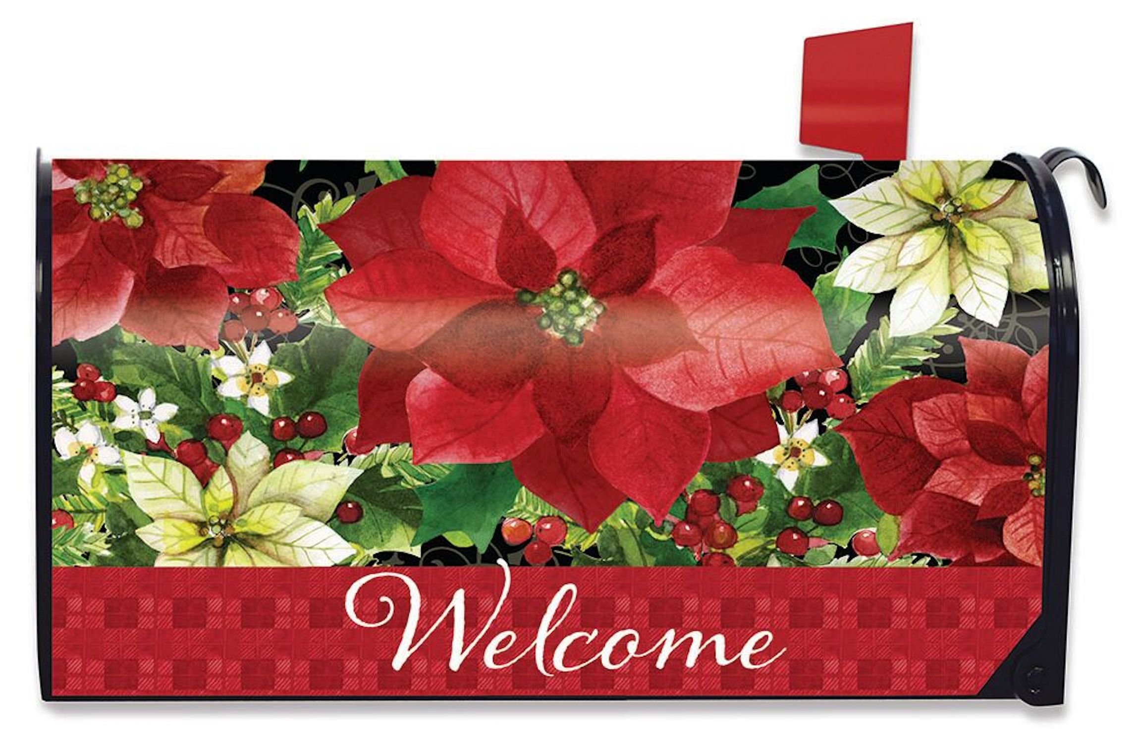 Briarwood Lane Poinsettia Welcome Christmas Mailbox Cover Floral Standard