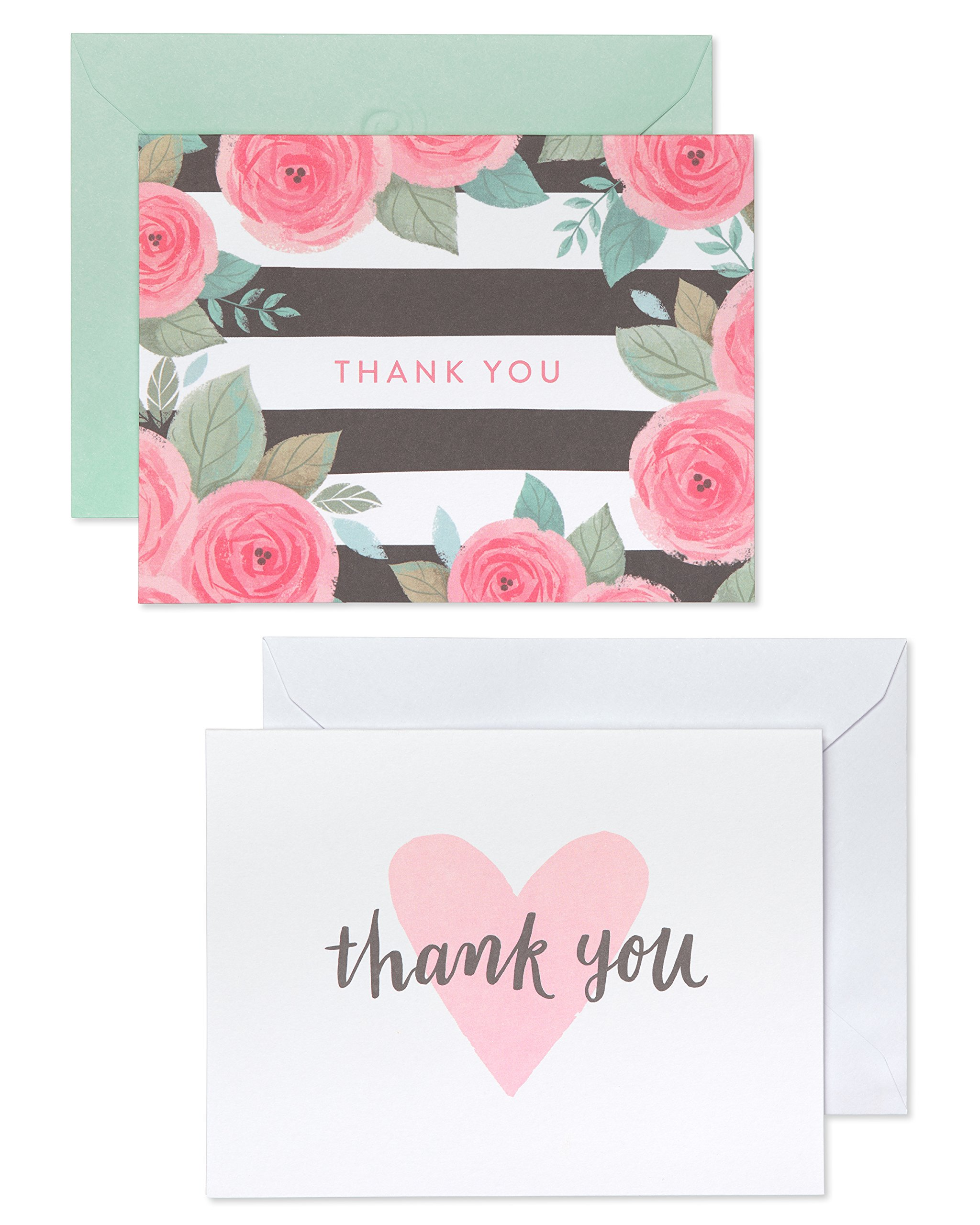 American Greetings Pink, Black and White Floral and Hearts Thank-You Cards and White Envelopes, 50-Count