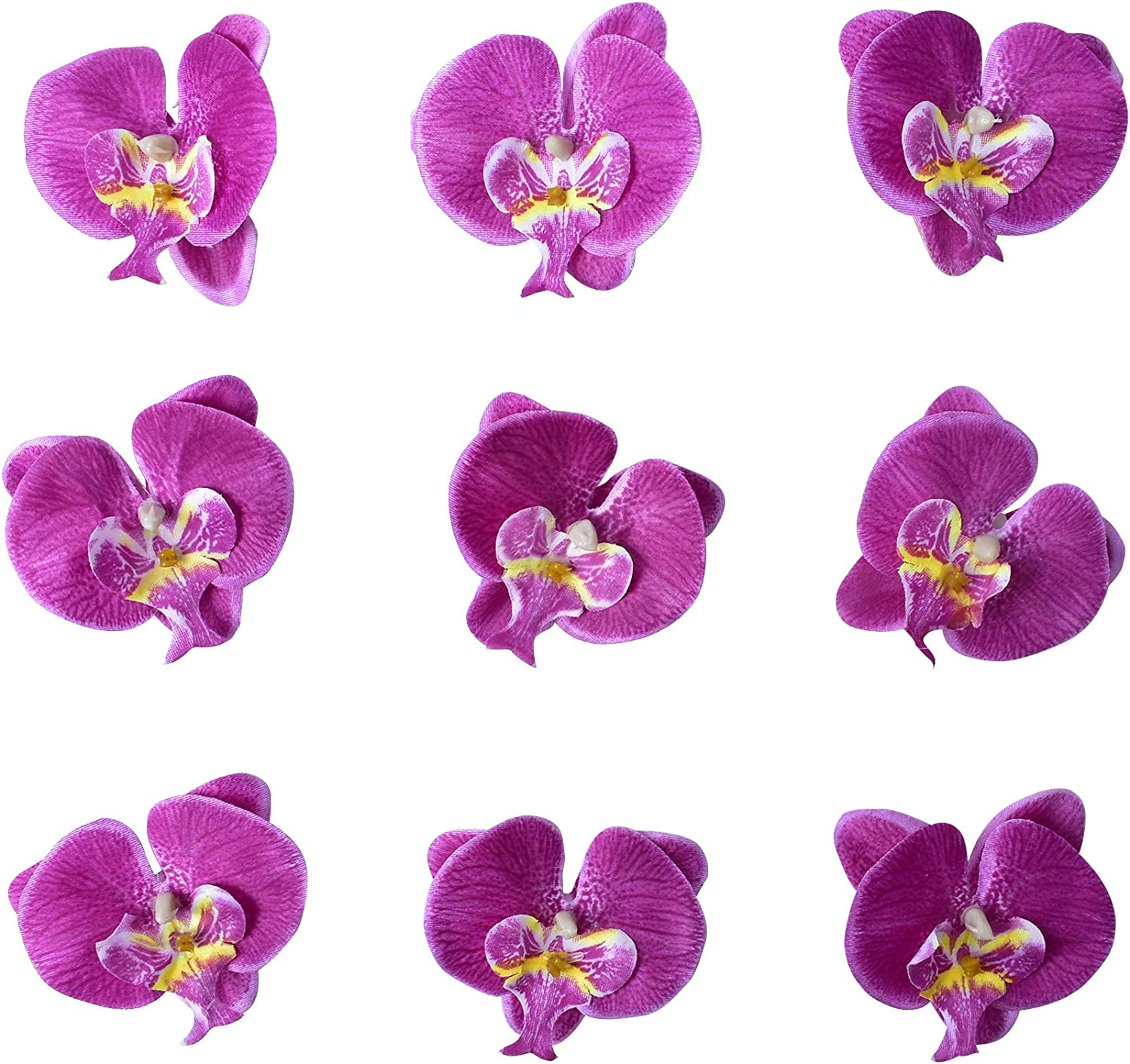 HOKPA Artificial Silk Phalaenopsis Flower Heads, Fake Butterfly Orchid Head Floral Bouquet for DIY Crafts Making Bridal Hair Clip Headbands Dress Photography Props Wedding Decor (20pcs Purple)