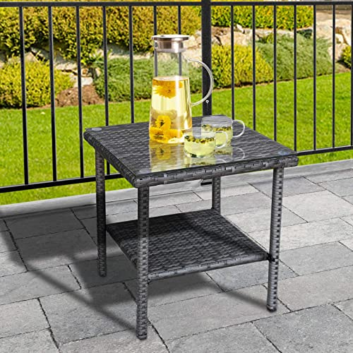 Outdoor Wicker Glass Top Side Table