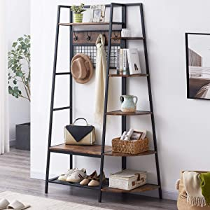 OIAHOMY Entryway Coat Rack with Storage Shoes Bench,Industrial Hall Tree with 5 Tier Storage Shelf, Freestanding Clothes Rack with Hooks, Multifunctional Entryway Organizer -Rustic Brown