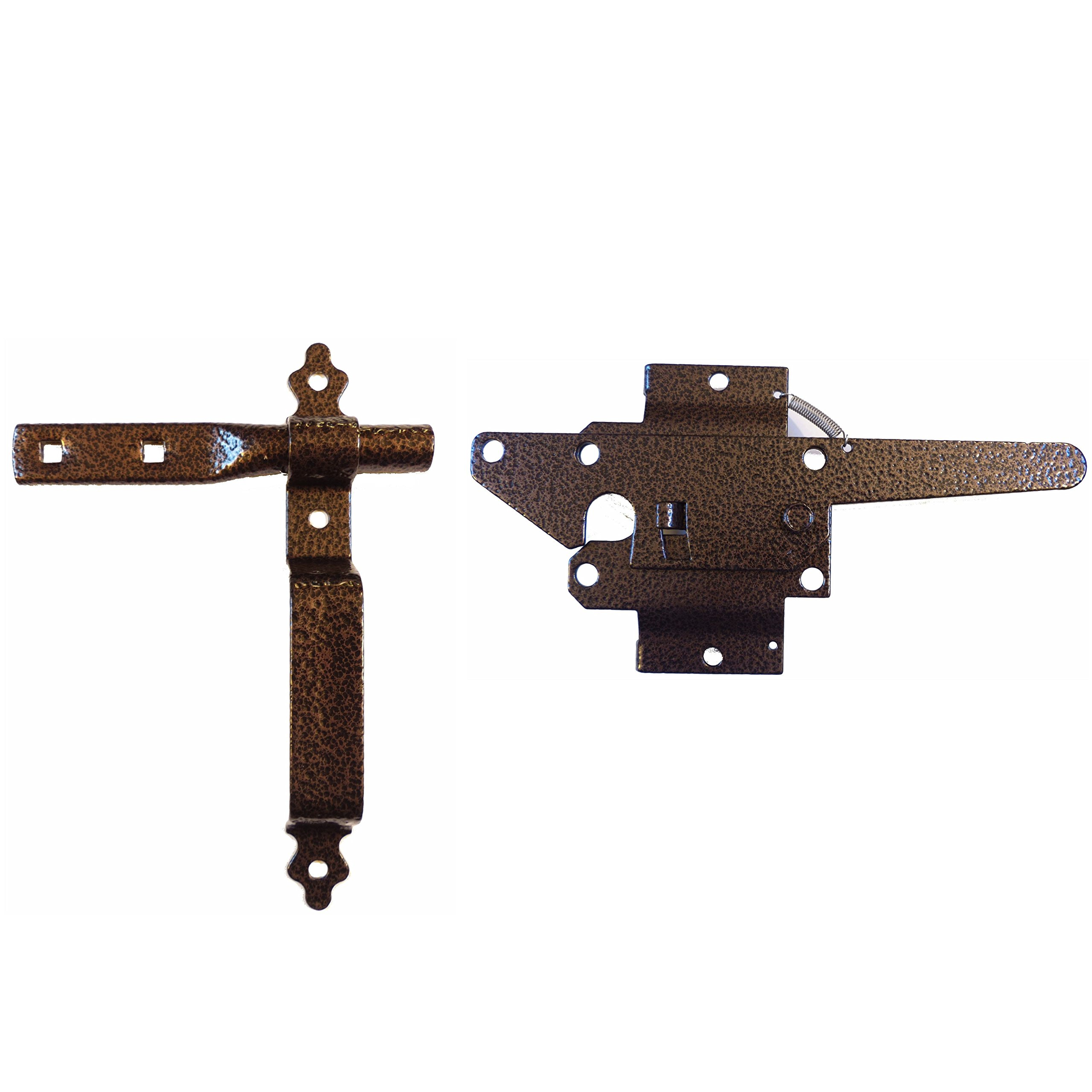 Wood Gate Latch w/Handle - Wood Fence Latch Gate Kit, Wood Fence Gate Latch Opens for Either Side of Gate - BRONZE COLORED Powder Coated Wood Gate Hardware