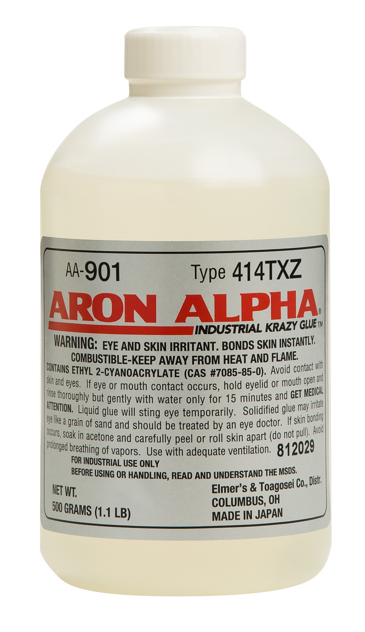 Aron Alpha 414TXZ (6,000 cps) High Heat (250 F) and Impact Resistant Instant Adhesive 500 g (1.1 pound) Bottle