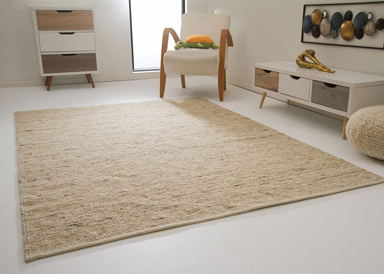 Leutasch Handweb Teppich aus 100% Schurwolle - natur, Größe  130x190 cm