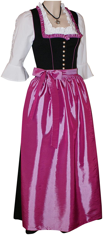 Dirndl Festtracht Trachten-Kleid Trachtenkleid Dirndlkleid schwarz fuchsia rosa