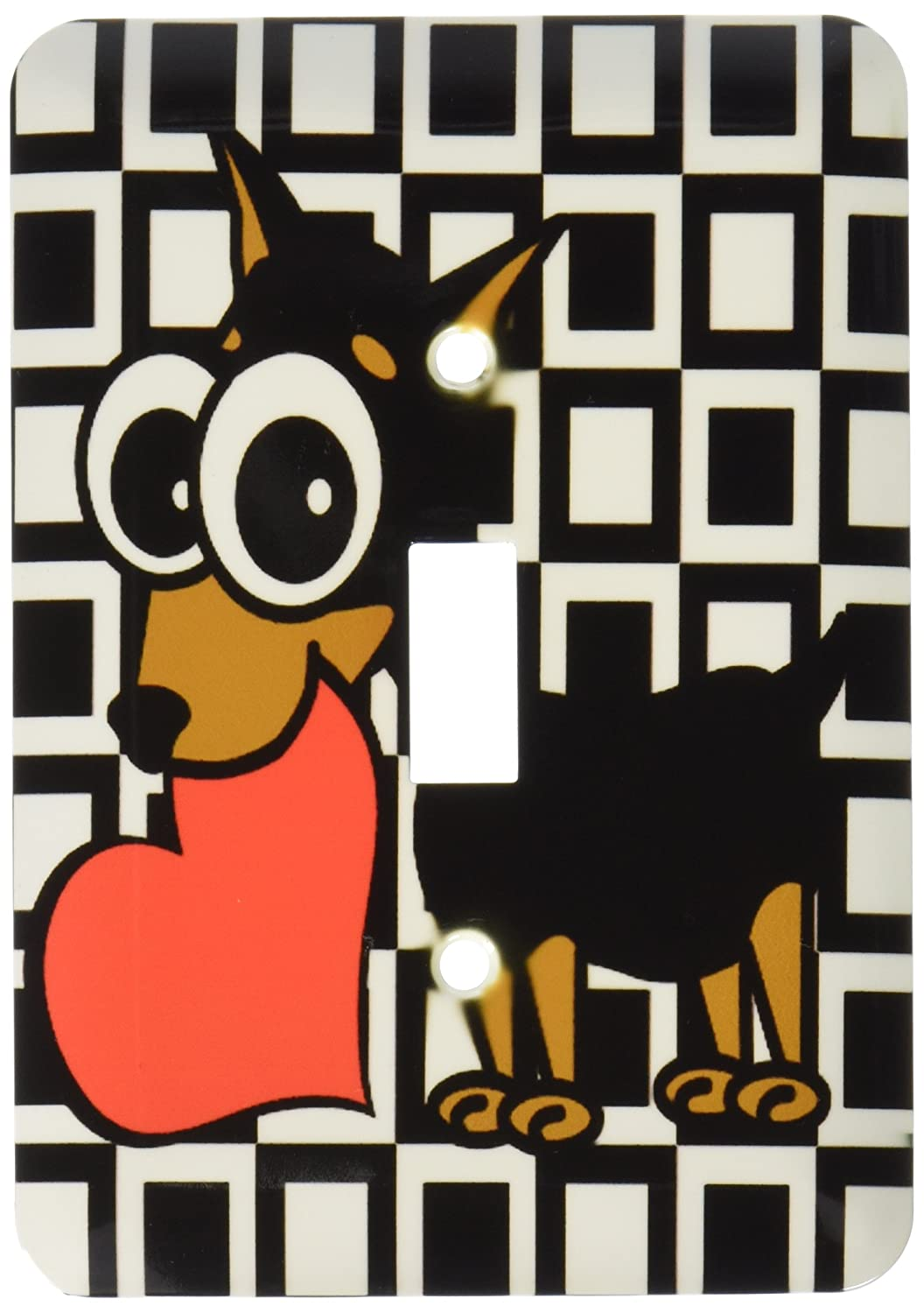 3dRose lsp/_6082/_1Miniature Pinscher Has My Heart Single Toggle Switch Multicolor