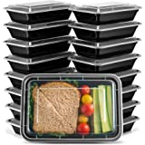 EZ Prepa [20 Pack] 28oz Single Compartment Meal Prep Containers with Lids - Food Storage Containers Bento Box Made of BPA Free Plastic, Stackable, Reusable, Microwavable, Freezer, and Dishwasher Safe
