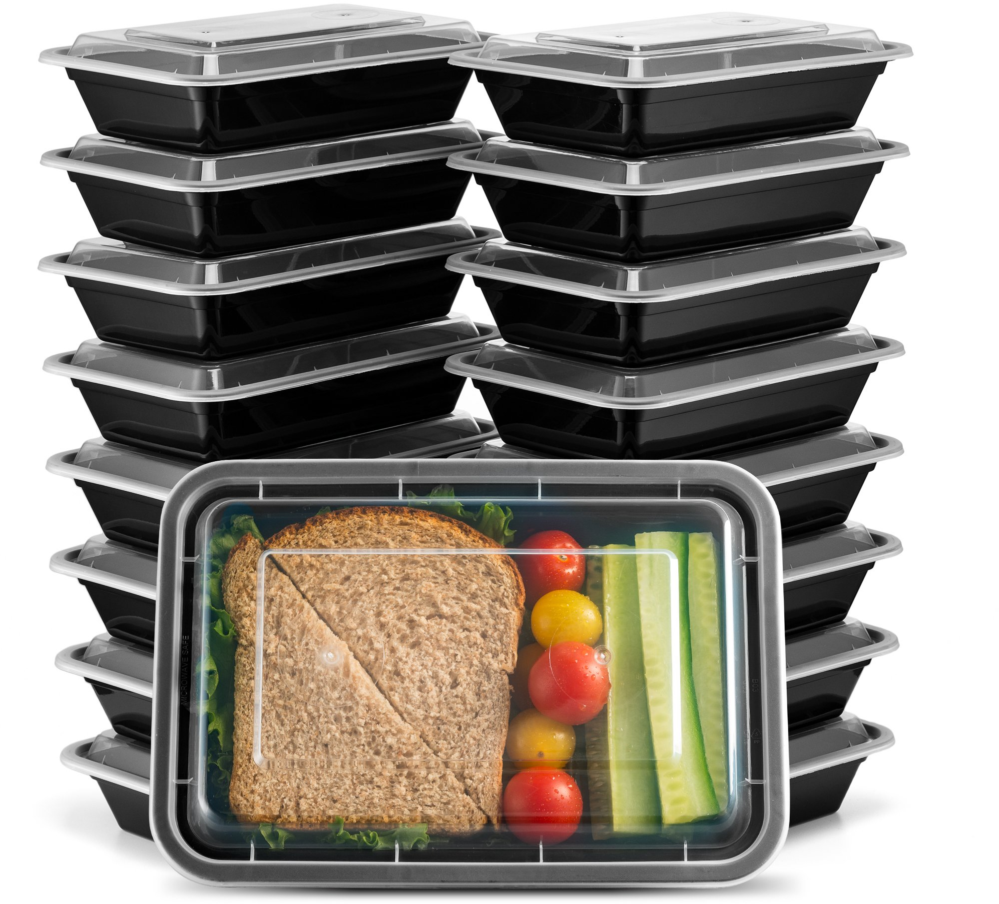 Ez Prepa [20 Pack] 28oz Single Compartment Meal Prep Containers with Lids - Food Storage Containers Bento Box Lunch Box Made of BPA Free Plastic, Stackable, Reusable, Microwavable, Freezer, and Dishw
