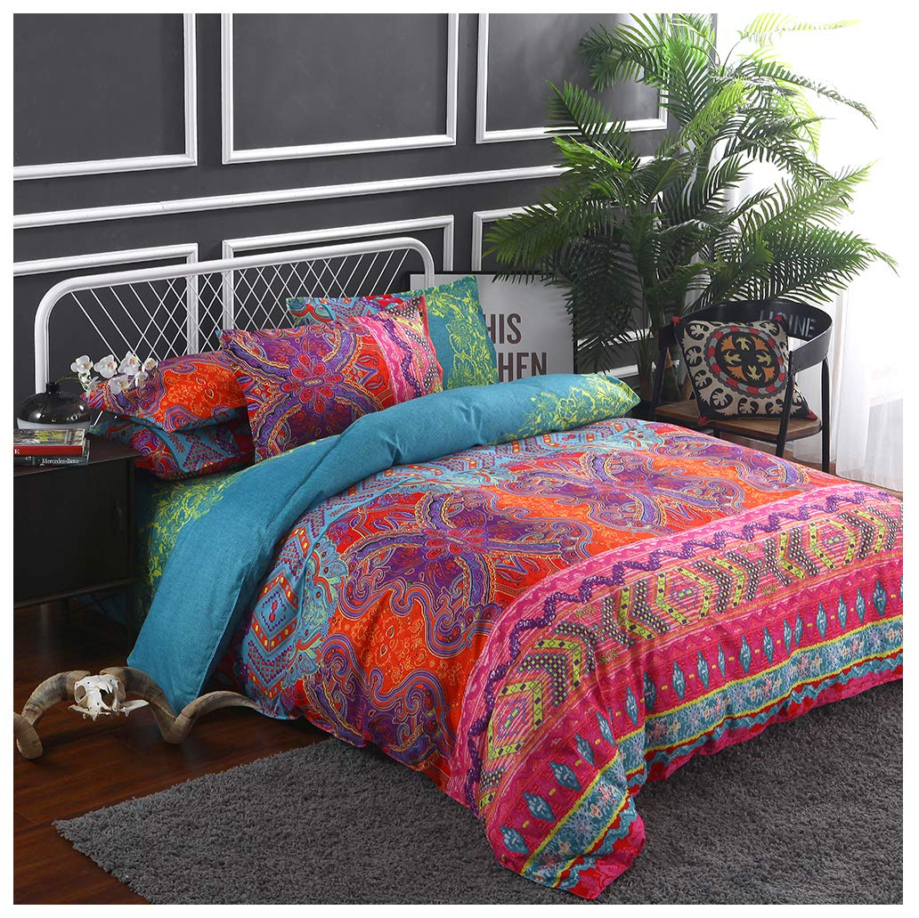 """CCoutueChen Bohemian Comforter Cover Mandala Boho Bedding Duvet Cover Sets Thick Soft Bedclothes Plain Twill Striped Hypoallergenic Microfiber with Pillow Quilt Coverlet (3pcs, 102""""x90"""", King Size)"""