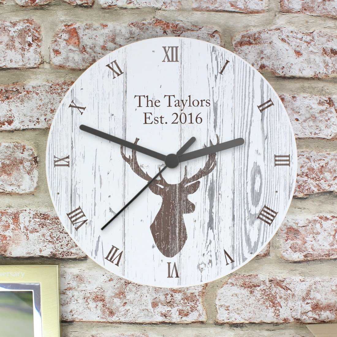 Personalised Highland Stag Shabby Chic Wooden Clock Personalised This Highland Stag Wooden Clock Is GiftRush