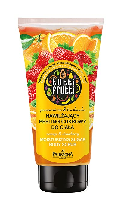 Cuerpo exfoliante Tutti Frutti, ducha exfoliante Fresa & Naranja, Body Scrub para uso en