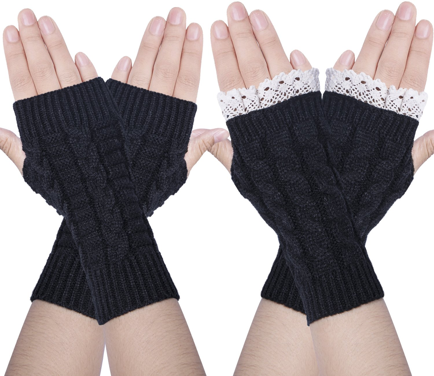 Chalier 2 Pairs Womens Winter Knit Fingerless Gloves Thumbhole Short Arm Warmer Black One Size SMR-044-1