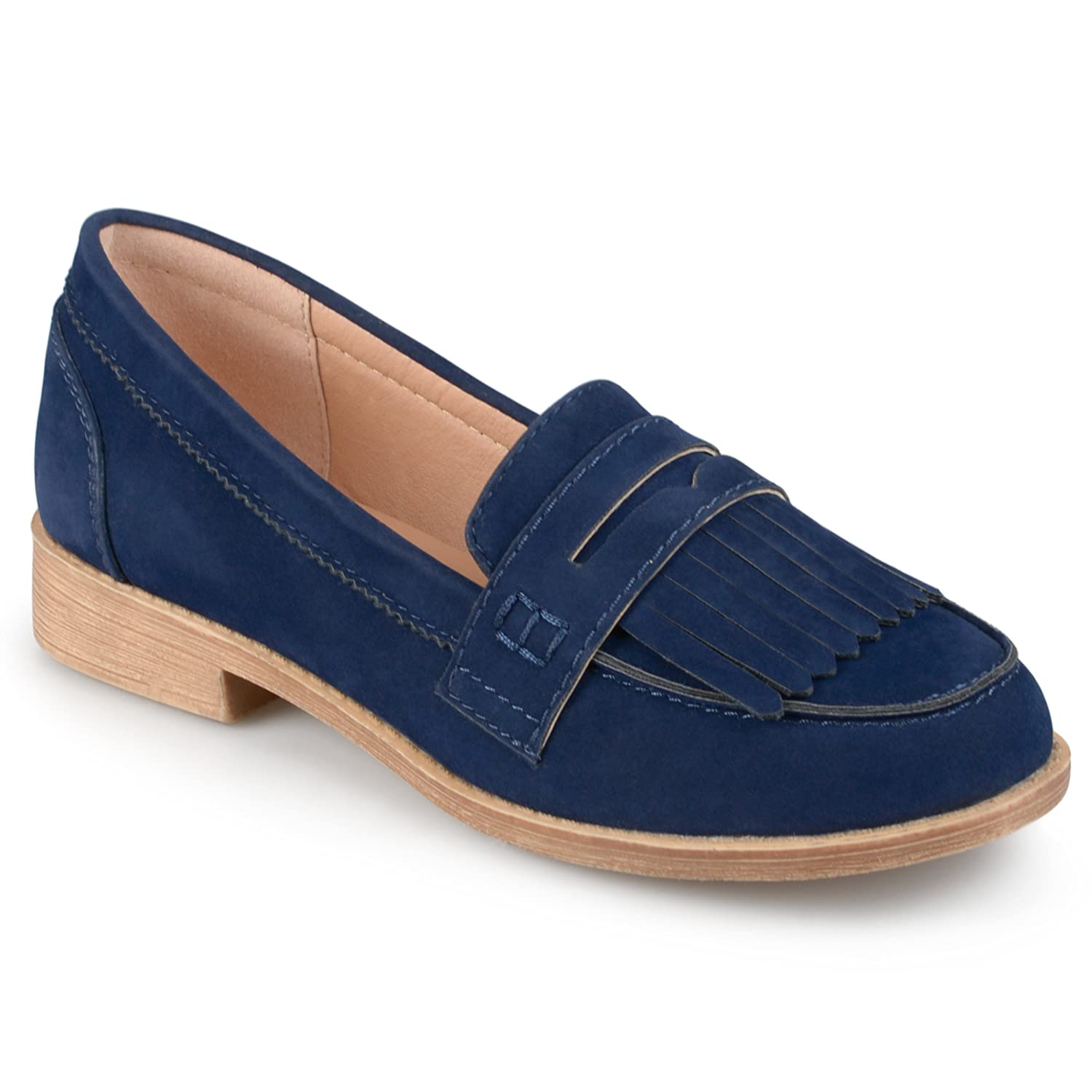 Journee Collection Womens Faux Suede Fringed Loafers