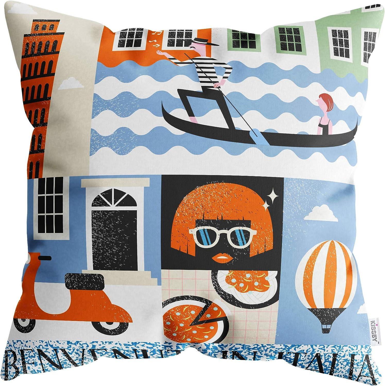 BENVENUTI in Italia Italy Throw Pillow Cover 18x18 inches - Decorative Cultural Italian Cushion Case for Sofa, Bedroom, Car, Office Chair, Home Decor - 1 Cushion Cover, Soft & Washable (45x45cm)