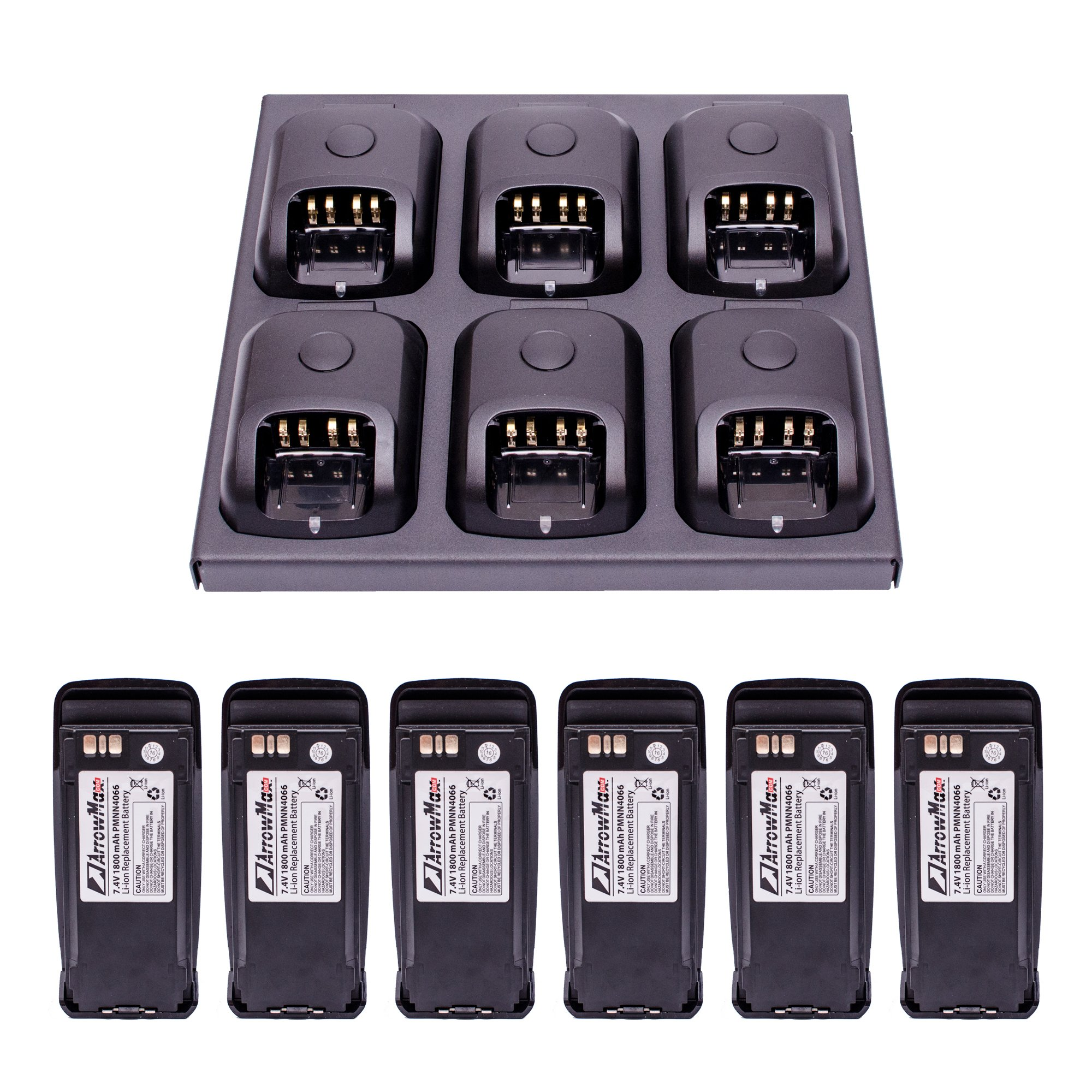 Maxtop C6B6C0011 Battery Charger Bundle Package with 6 PCS 1800mAh PMNN4065 PMNN4066 Replacement Battery for Motorola by MAXTOP (Image #1)