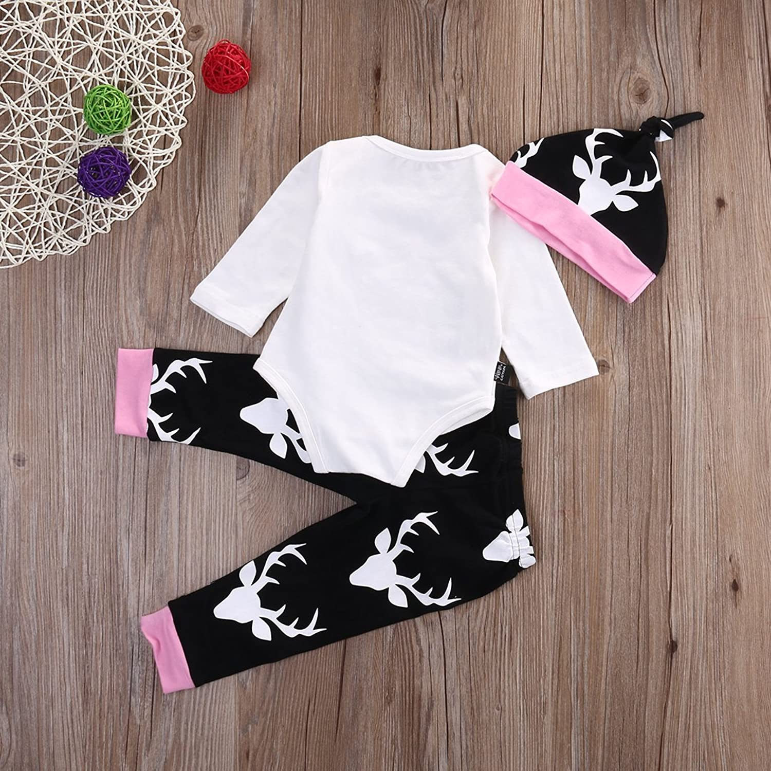 Baby Girls Daddy s Little Girl Long Sleeve Bodysuit and Deer Pants