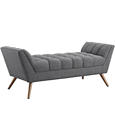 Modway Response Mid-Century Modern Bench Medium Upholstered Fabric in Gray