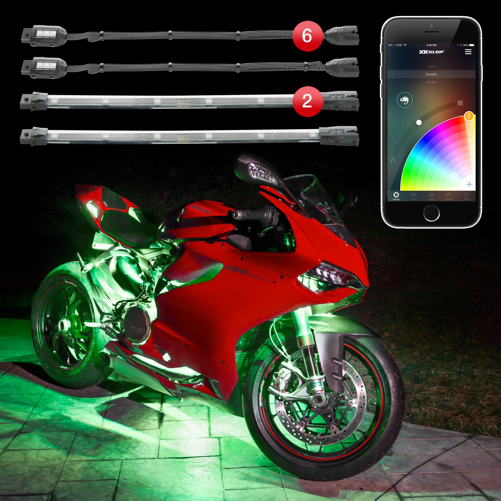 2nd Gen 6pc Pods 2pc Strips XKchrome App Control Motorcycle LED Light Kit Millions of Colors Patterns Music Sync Smart Brake Feature for Harley Honda Yamaha Suzuki Kawasaki Ducati Indian Victory