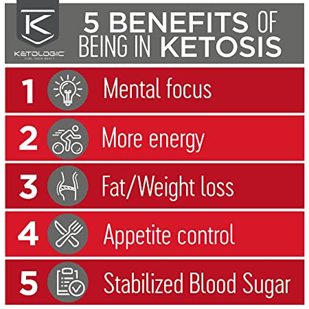 KetoLogic Keto Meal Replacement MCT Shake Promotes Weight Loss Suppresses Appetite Low Carb Strawberry, 20 Servings