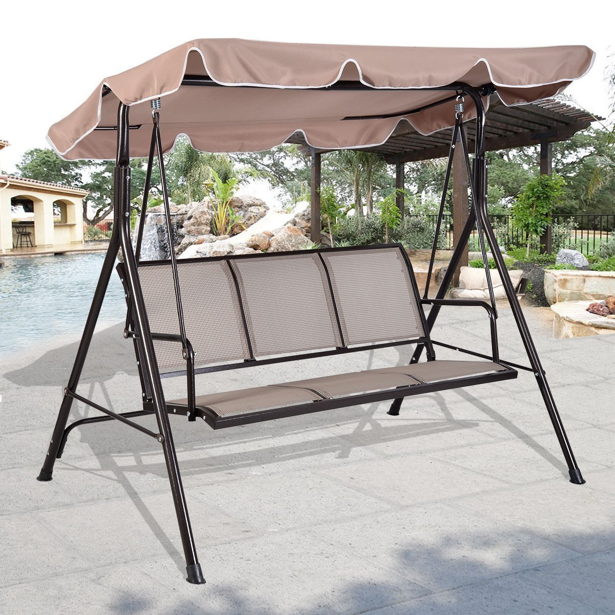 Amazon.com  Giantex 3 Person Outdoor Patio Swing Canopy Awning Yard Furniture Hammock Steel Beige  Garden u0026 Outdoor & Amazon.com : Giantex 3 Person Outdoor Patio Swing Canopy Awning ...