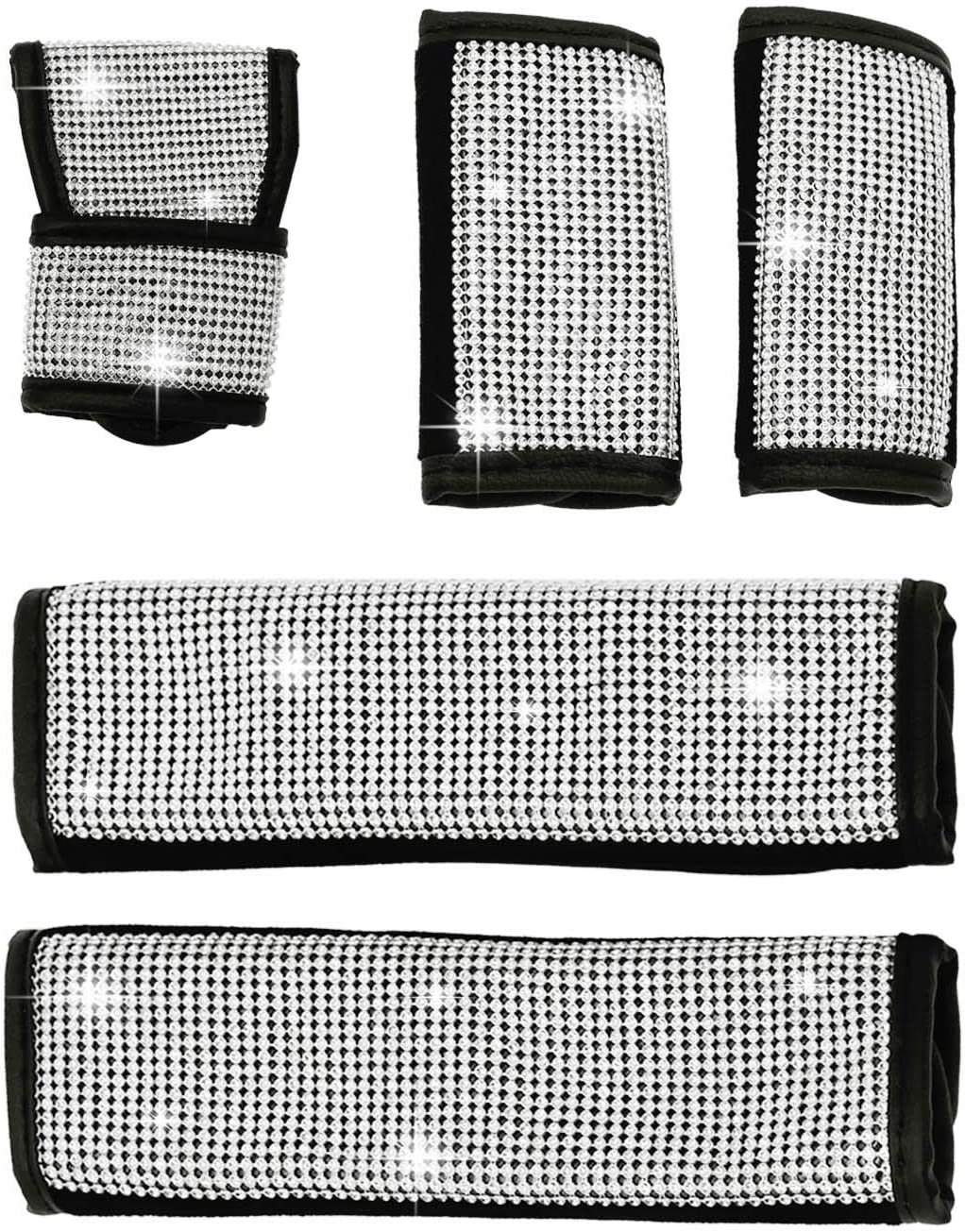 M MOKENEYE Crystal Bling Bling Auto Seat Belt Cover /& Handbrake Cover /& Shift Gear Knob Cover Diamond Auto Interior D/écor Accessories Universal Fit Set of 5