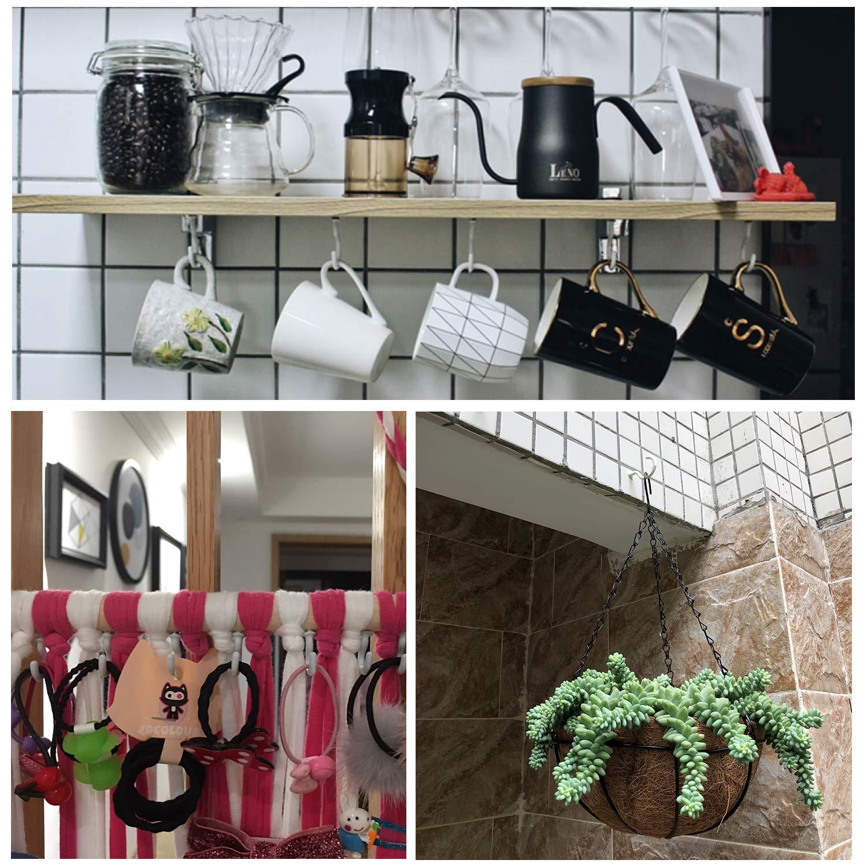 80-Pack Waykino Ceiling Hook Kitchen Cup Hooks Holder Screw-in Hanger White