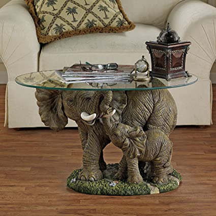 Superbe Design Toscano Elephants Majesty African Decor Coffee Table With Glass Top,  30 Inch, Polyresin