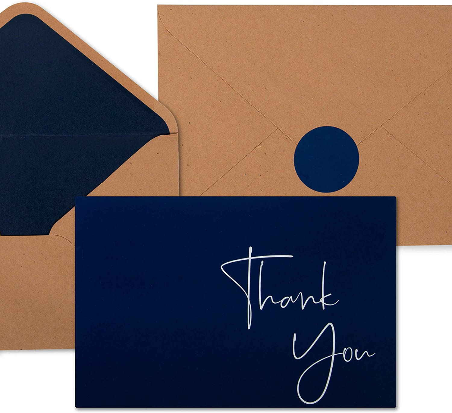 """100 Navy Blue Thank You Cards with Envelopes & Stickers 