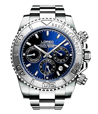 LOREO Mens Automatic Machine Multifunction Silver Stainless Steel Sapphire Glass Blue Waterproof Watch