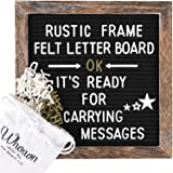 Rustic Wood Frame Black Felt Letter Board 10x10 inches. Pre-Cut 440 White & Gold Letters, Months & Days Cursive Words, Additional Symbols & Emojis, 2 Letter Bags, Scissors, Vintage Stand. by whoaon (Color: Black 10x10, Tamaño: Dark Package)