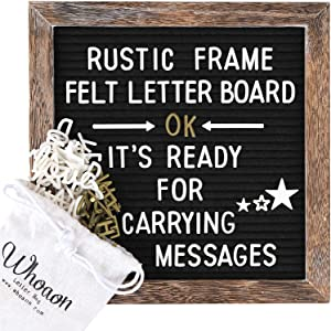 Rustic Wood Frame Black Felt Letter Board 10x10 inches. Pre-Cut White & Gold Letters, Symbols, Emojis, Simple Cursive Words + 2 Letter Bags, Scissors, Vintage Stand. by whoaon