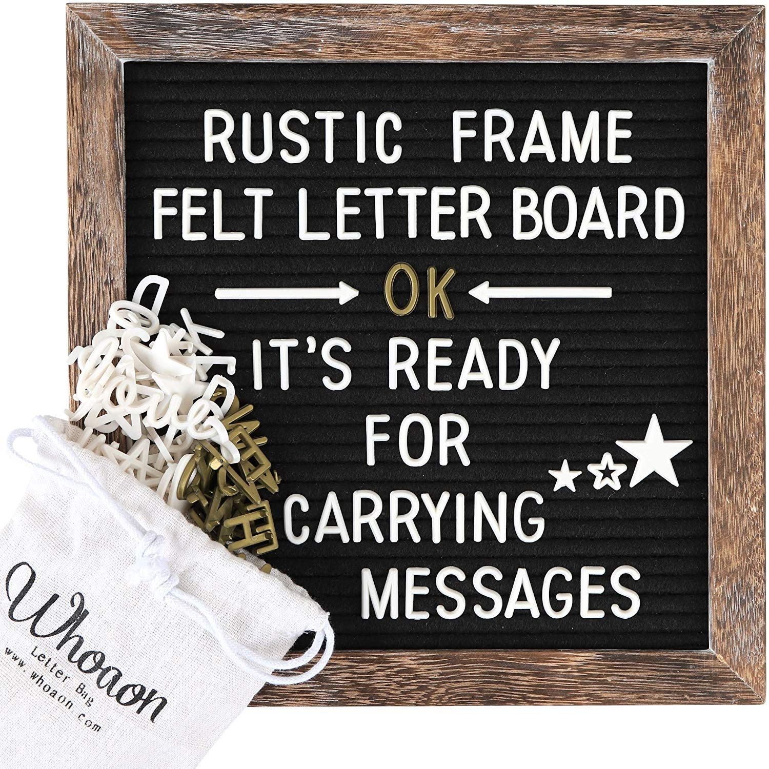 Rustic Wood Frame Black Felt Letter Board 10x10 inches. Pre-Cut 440 White & Gold Letters, Months & Days Cursive Words, Additional Symbols & Emojis, 2 Letter Bags, Scissors, Vintage Stand. by whoaon